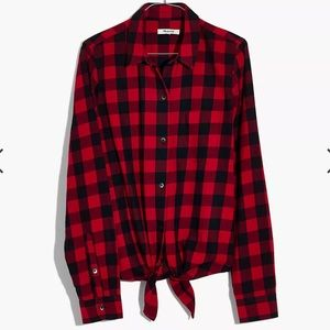 Madewell Flannel Tie-Front Shirt in Buffalo Check S